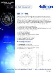 4.5 Inch Round Headlight data sheet