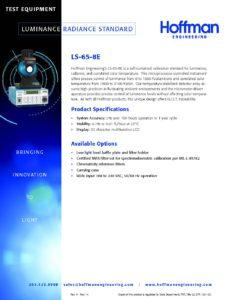 Luminance Radiance Standard data sheet
