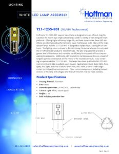 White LED Lamp Assembly data sheet